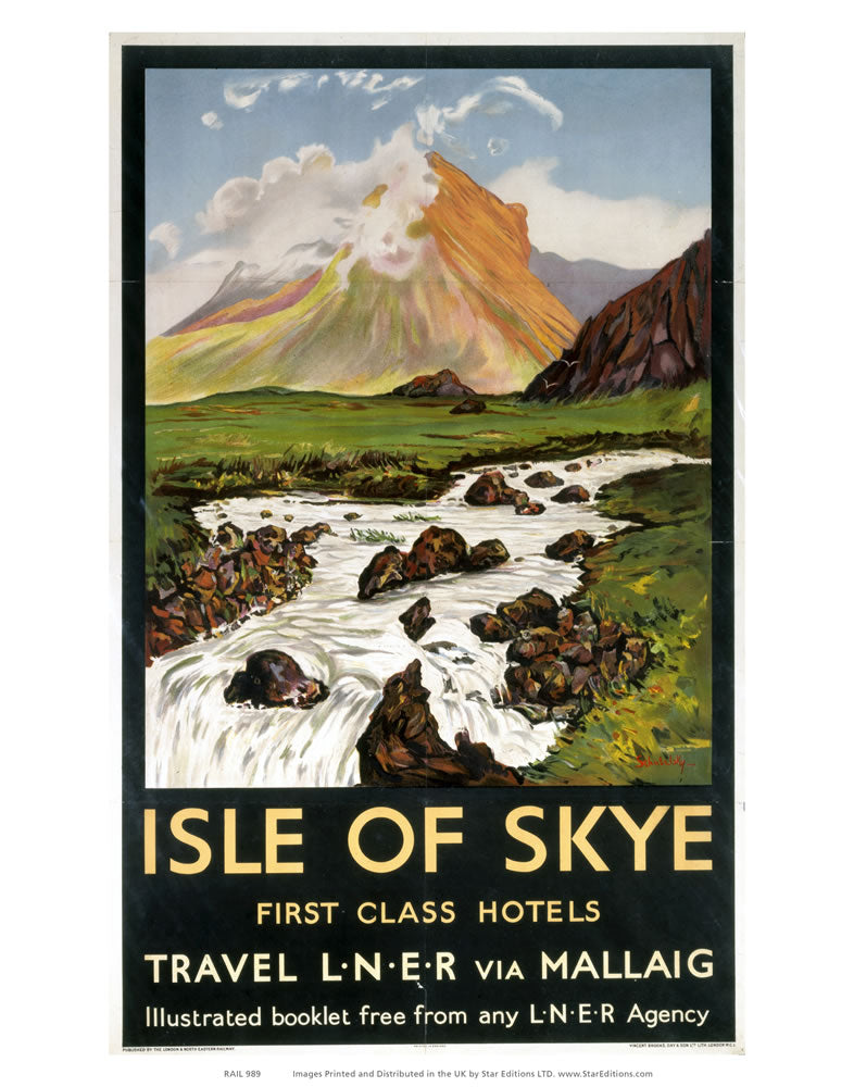 "Isle of Skye - First Class Hotels by LNER and Mallaig 24"" x 32"" Matte Mounted Print"