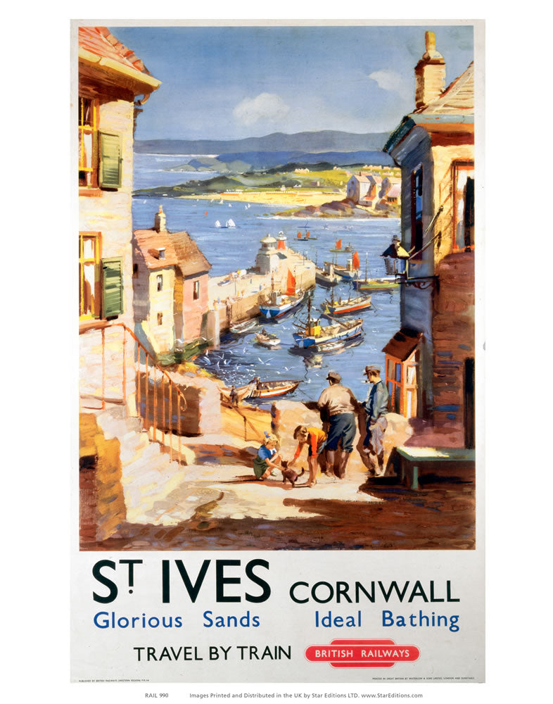 "St Ives Cornwall - Glorious sand and Ideal Bathing 24"" x 32"" Matte Mounted Print"