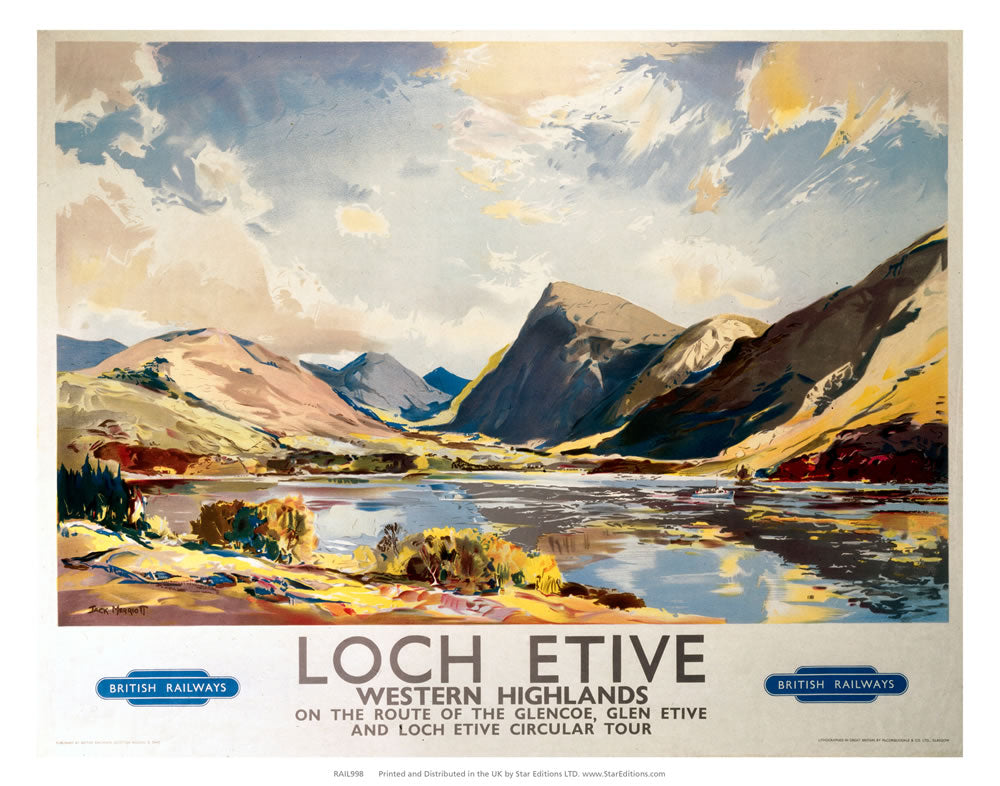 "Loch Etive - Western Highlands On the route of Glencoe 24"" x 32"" Matte Mounted Print"