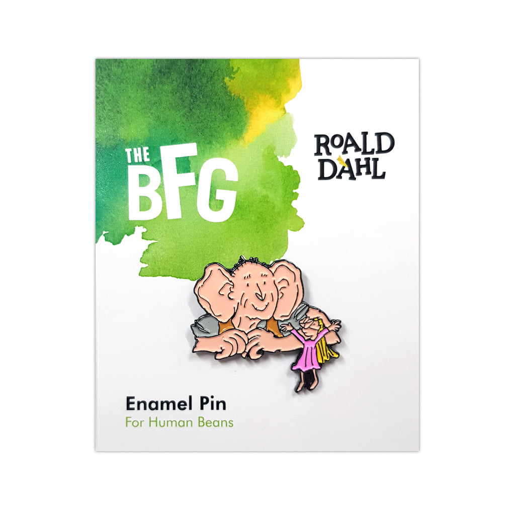 RDBFGENAMELPIN: Roald Dahl Big Friendly Giant Enamel Pin Packaged Rubber Keyring