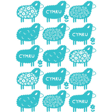 Cymru Sheep 20cm x 20cm Mini Mounted Print