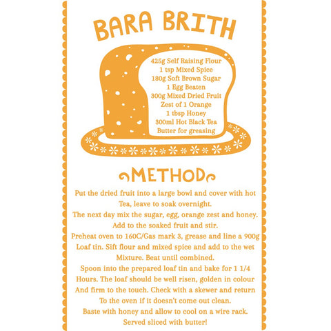 Bara Brith 20cm x 20cm Mini Mounted Print