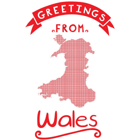 Greetings From Wales 20cm x 20cm Mini Mounted Print