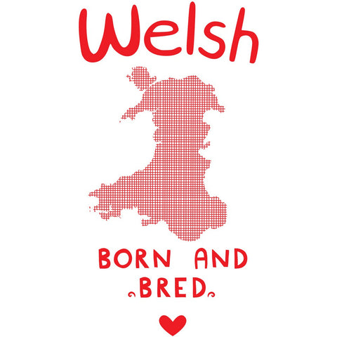 Welsh Born and Bred 20cm x 20cm Mini Mounted Print