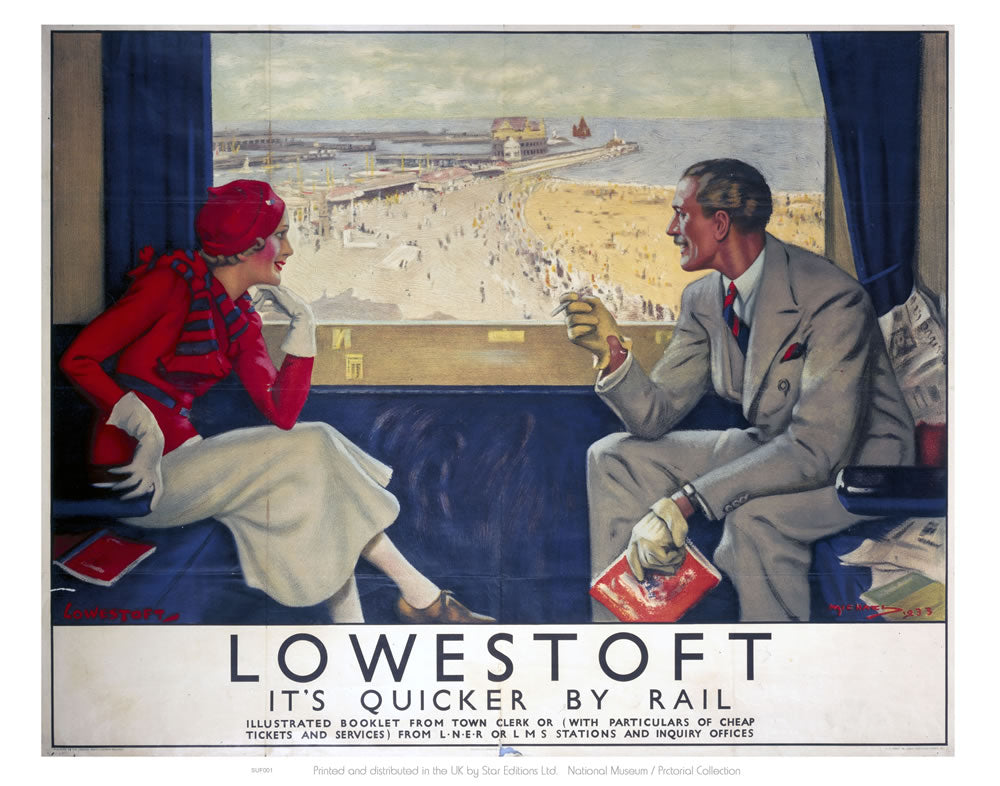 "Lowestoft It's Quicker By Rail - Carriage View 24"" x 32"" Matte Mounted Print"
