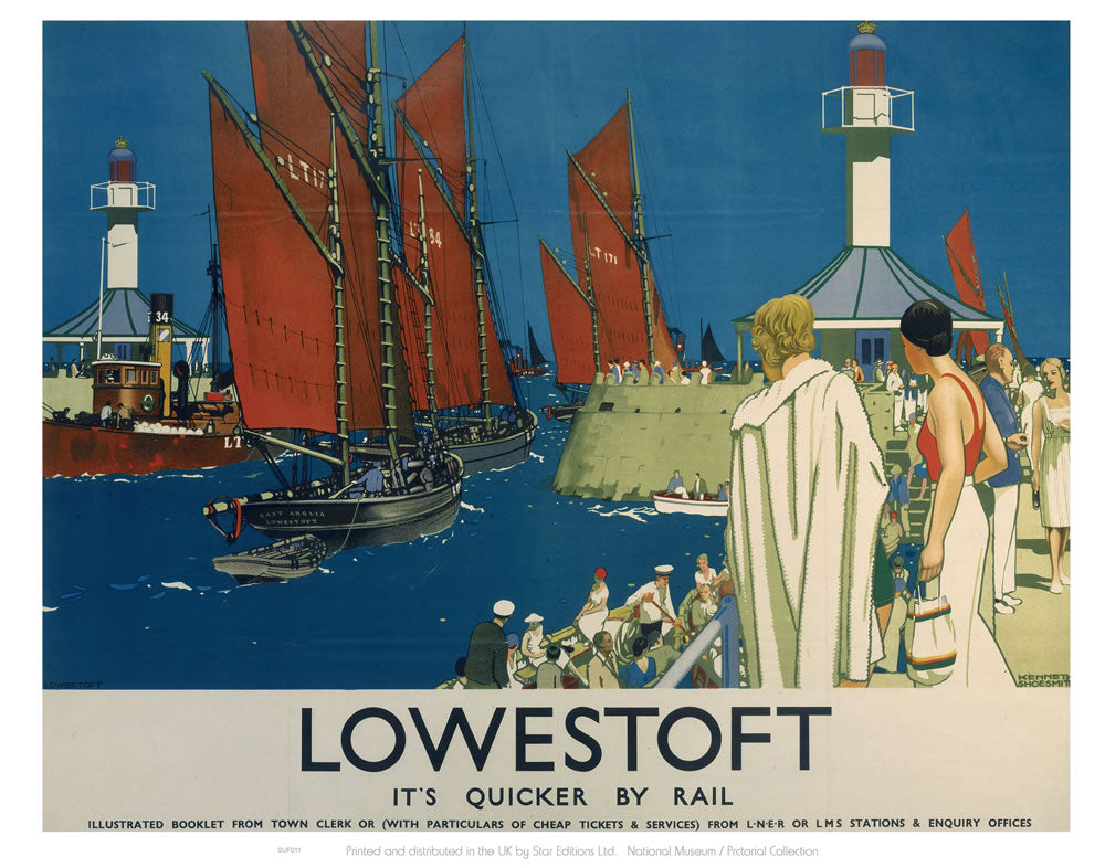"Lowestoft - It's Quicker By Rail 24"" x 32"" Matte Mounted Print"