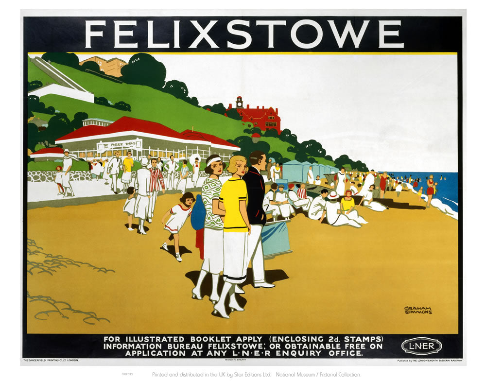 "Felixstowe LNER- It's Quicker By Rail 24"" x 32"" Matte Mounted Print"