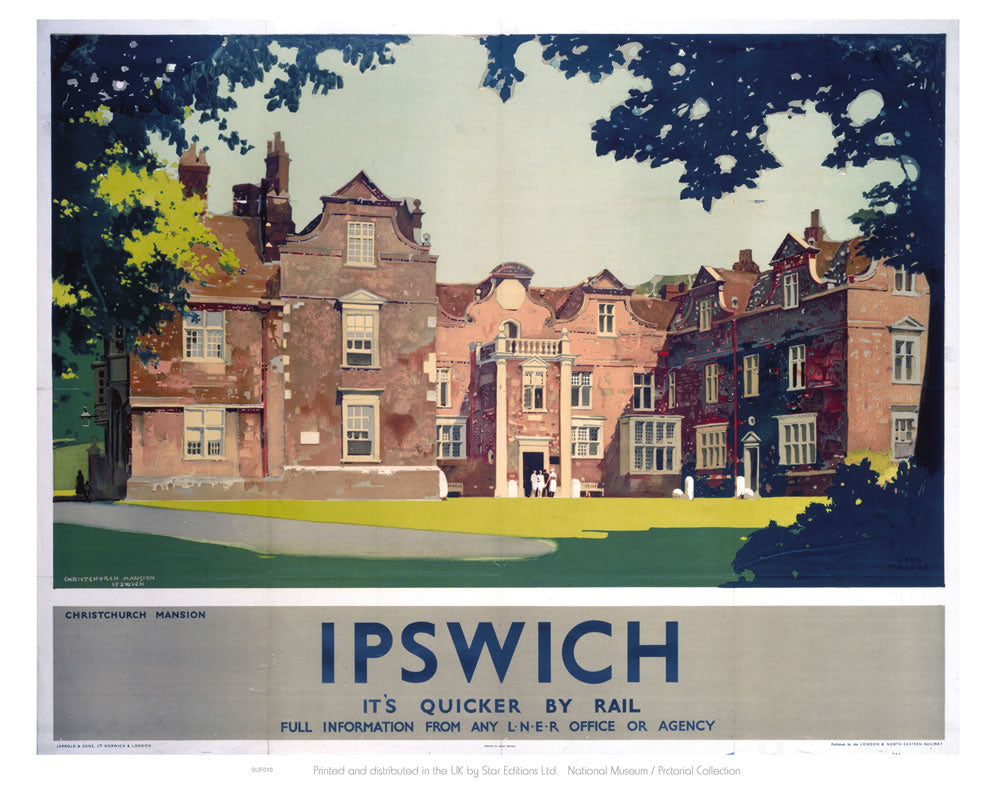 "Christchurch Mansion Ipswich - It's Quicker By Rail 24"" x 32"" Matte Mounted Print"