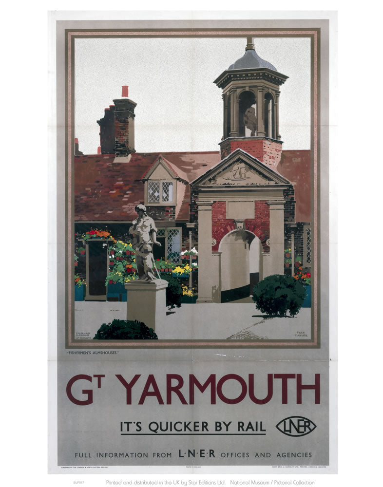 "Great Yarmouth It's Quicker By Rail 24"" x 32"" Matte Mounted Print"