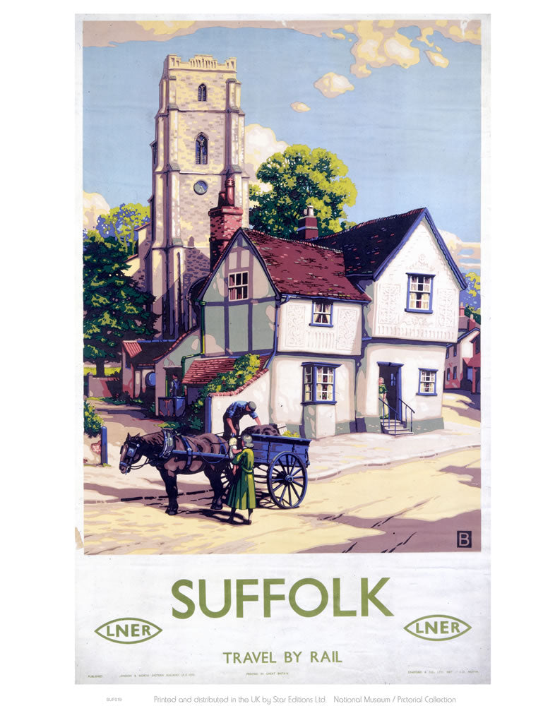 "Suffolk Travel By Rail LNER 24"" x 32"" Matte Mounted Print"