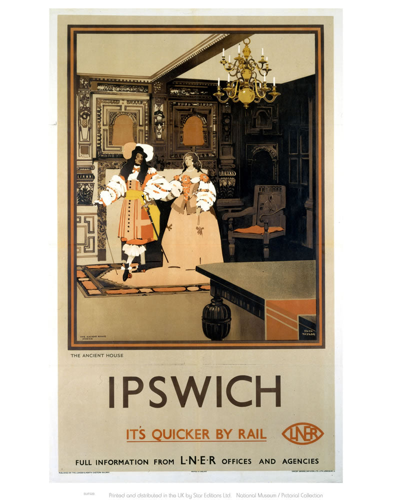 "Ipswich The Ancient House LNER - It's Quicker by Rail 24"" x 32"" Matte Mounted Print"