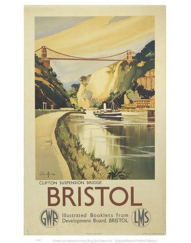 "Bristol - Clifton Suspension Bridge GWR LMS 24"" x 32"" Matte Mounted Print"
