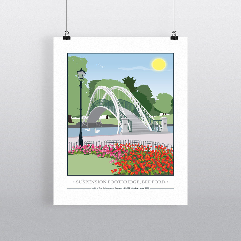 The Suspension Footbridge, Bedford 11x14 Print