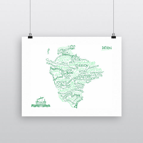 County Map of Devon, 11x14 Print