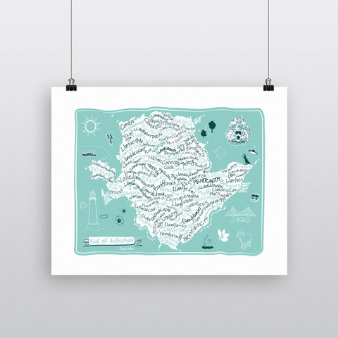 Map of The Isle of Anglesey, 11x14 Print