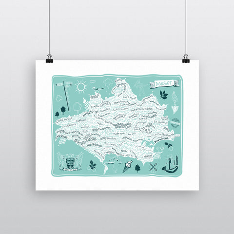 County Map of Dorset, 11x14 Print