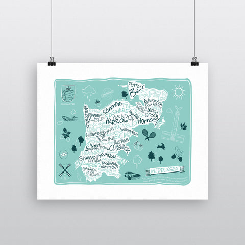 County Map of Middlesex, 11x14 Print