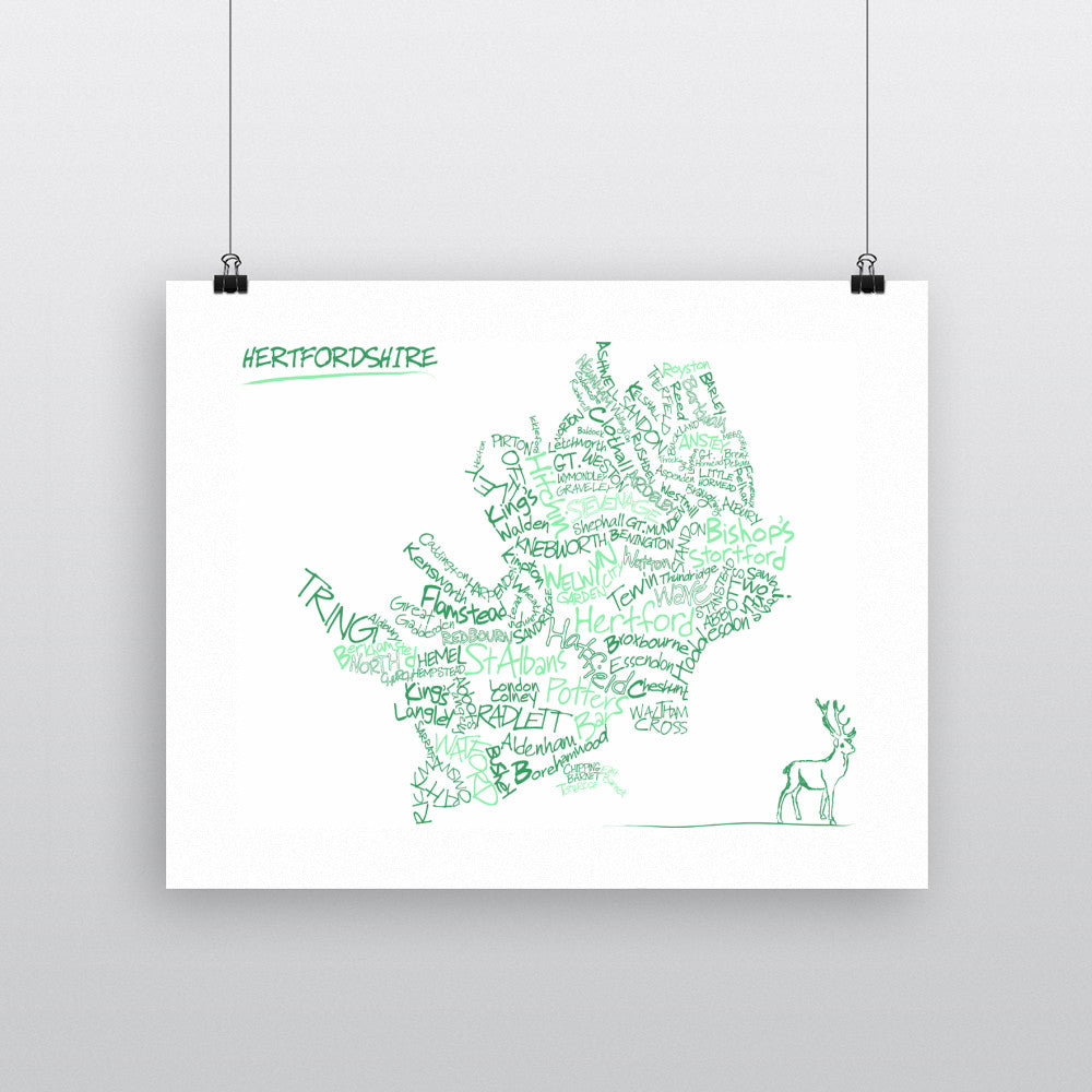 County Map of Hertfordshire, 11x14 Print