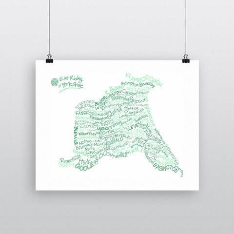 Map of the East Riding of Yorkshire, 11x14 Print