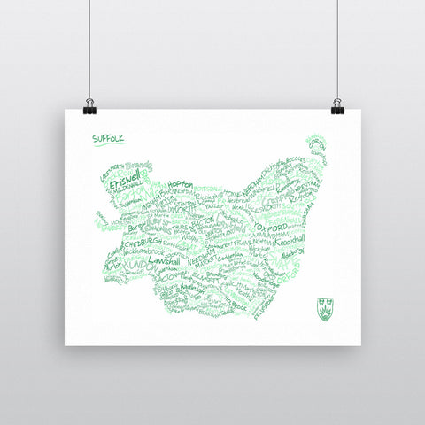 County Map of Suffolk, 11x14 Print