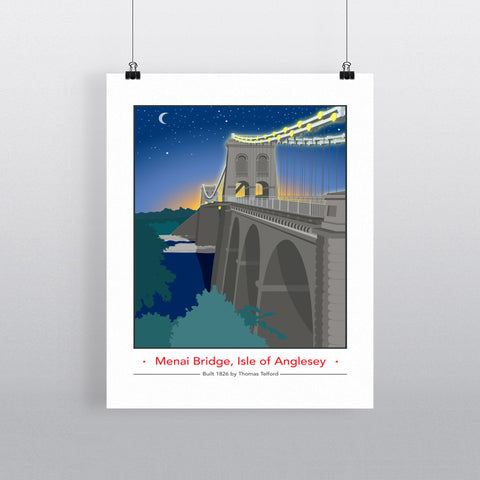 The Menai Bridge, Isle of Anglesey 11x14 Print