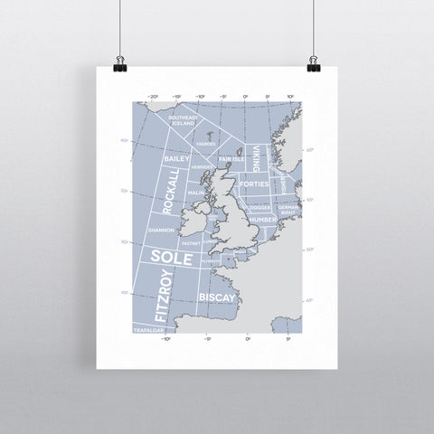 The Shipping Forecast Regions, 11x14 Print
