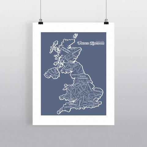 The Counties of the United Kingdom, 11x14 Print