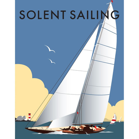 "THOMPSON006: Solent Sailing. 24"" x 32"" Matte Mounted Print"