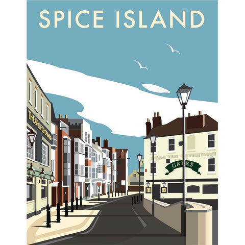 "THOMPSON009: Spice Island, Portsmouth. 24"" x 32"" Matte Mounted Print"