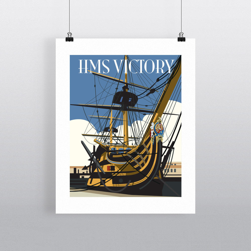 "THOMPSON010: HMS Victory, Portsmouth. 24"" x 32"" Matte Mounted Print"