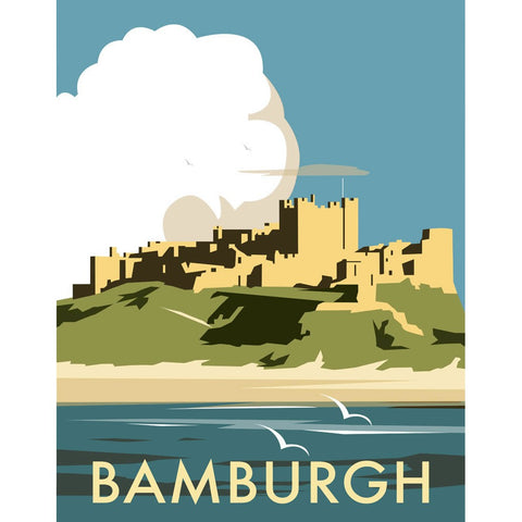 "THOMPSON013: Bamburgh Castle. 24"" x 32"" Matte Mounted Print"