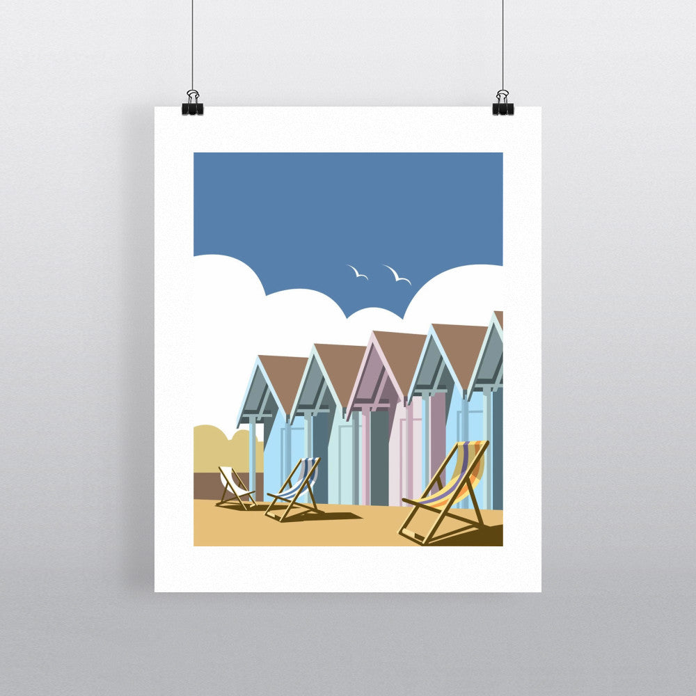 "THOMPSON016: Beach Huts. 24"" x 32"" Matte Mounted Print"