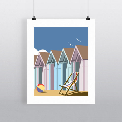 "THOMPSON017: Beach Huts. 24"" x 32"" Matte Mounted Print"