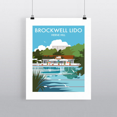 "THOMPSON026: Brockwell Lido, Herne Hill, London. 24"" x 32"" Matte Mounted Print"