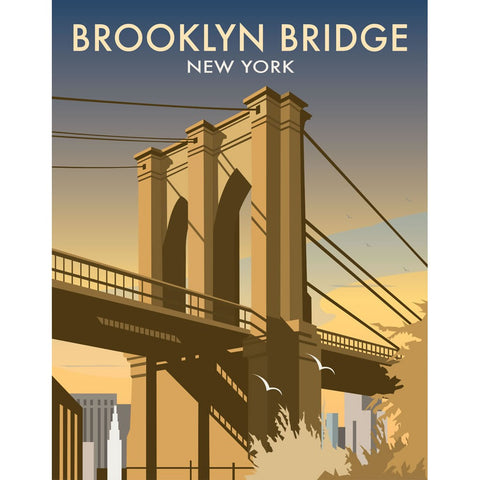 "THOMPSON027: Brooklyn Bridge, New York. 24"" x 32"" Matte Mounted Print"