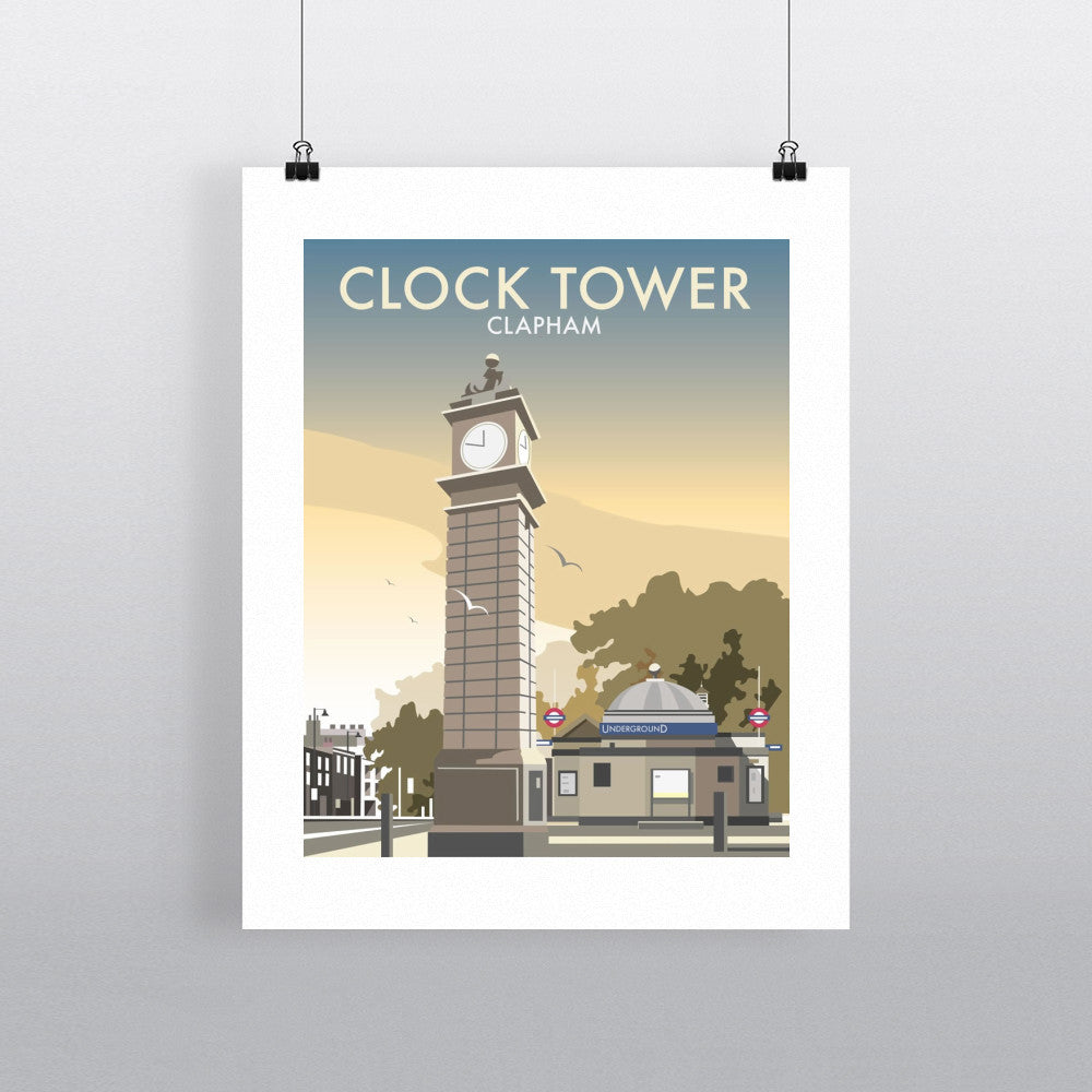 "THOMPSON032: The Clock Tower, Clapham, London. 24"" x 32"" Matte Mounted Print"
