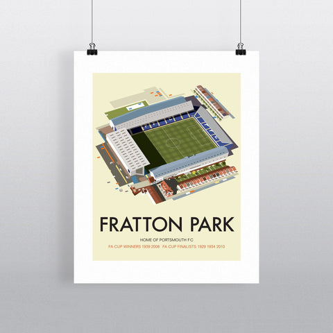 "THOMPSON042: Fratton Park, Home of Portsmouth FC. 24"" x 32"" Matte Mounted Print"