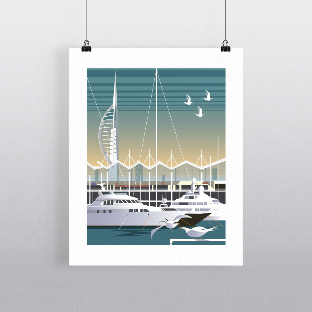 "THOMPSON046: Gunwharf Quays, Portsmouth. 24"" x 32"" Matte Mounted Print"