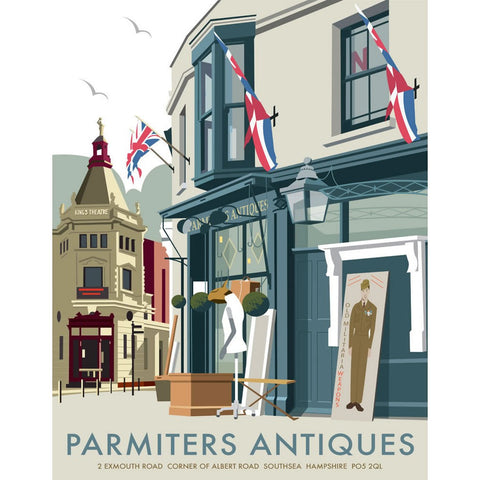 "THOMPSON060: Parmiters Antiques, Southsea. 24"" x 32"" Matte Mounted Print"
