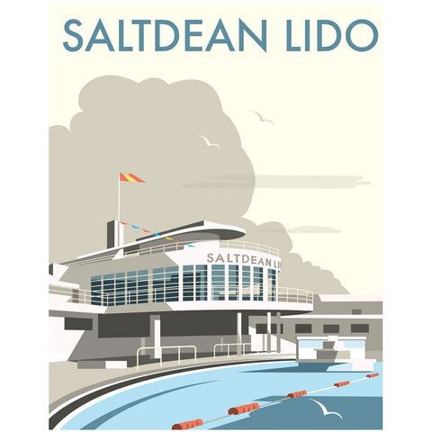 "THOMPSON063: Saltdean Lido, Brighton and Hove. 24"" x 32"" Matte Mounted Print"