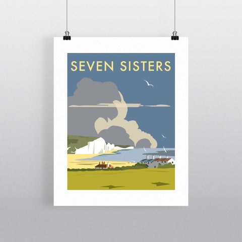 "THOMPSON066: The Seven Sisters, South Downs. 24"" x 32"" Matte Mounted Print"