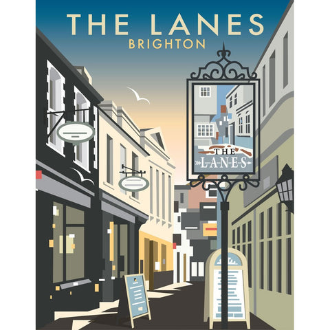 "THOMPSON074: The Lanes, Brighton. 24"" x 32"" Matte Mounted Print"