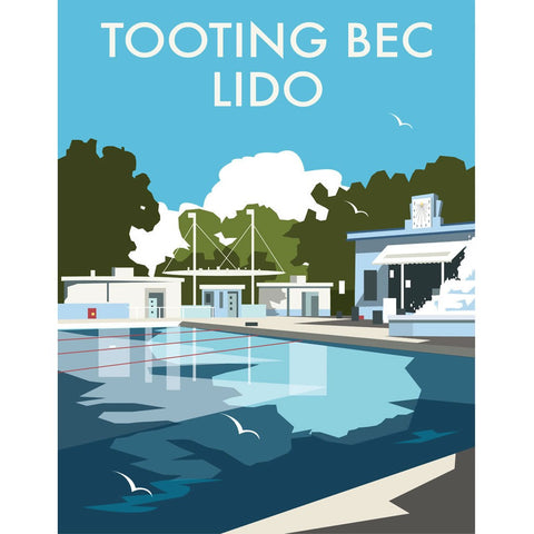 "THOMPSON076: Tooting Bec Lido, London. 24"" x 32"" Matte Mounted Print"