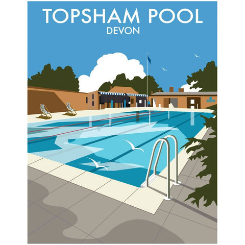 "THOMPSON077: Topsham Pool, Devon. 24"" x 32"" Matte Mounted Print"