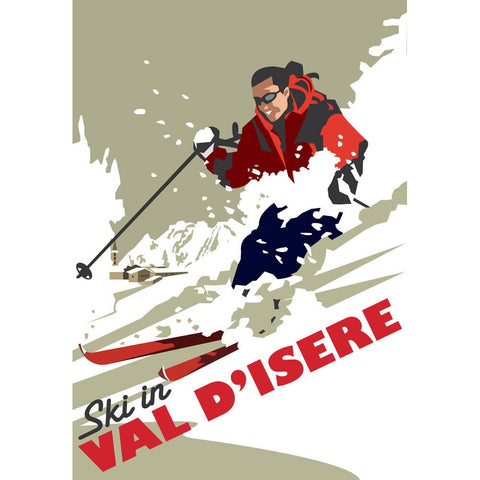 "THOMPSON080: Ski in Val D'isere. 24"" x 32"" Matte Mounted Print"