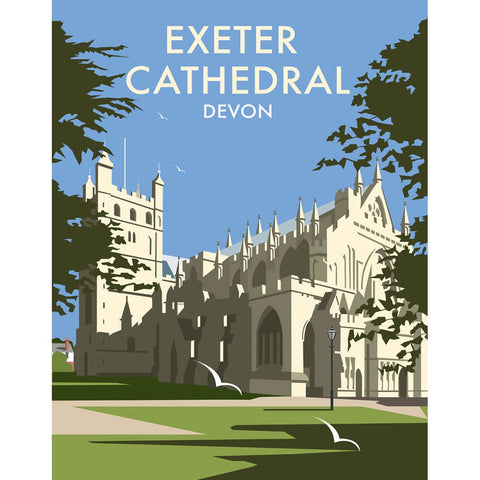 "THOMPSON083: Exeter Cathedral, Devon. 24"" x 32"" Matte Mounted Print"