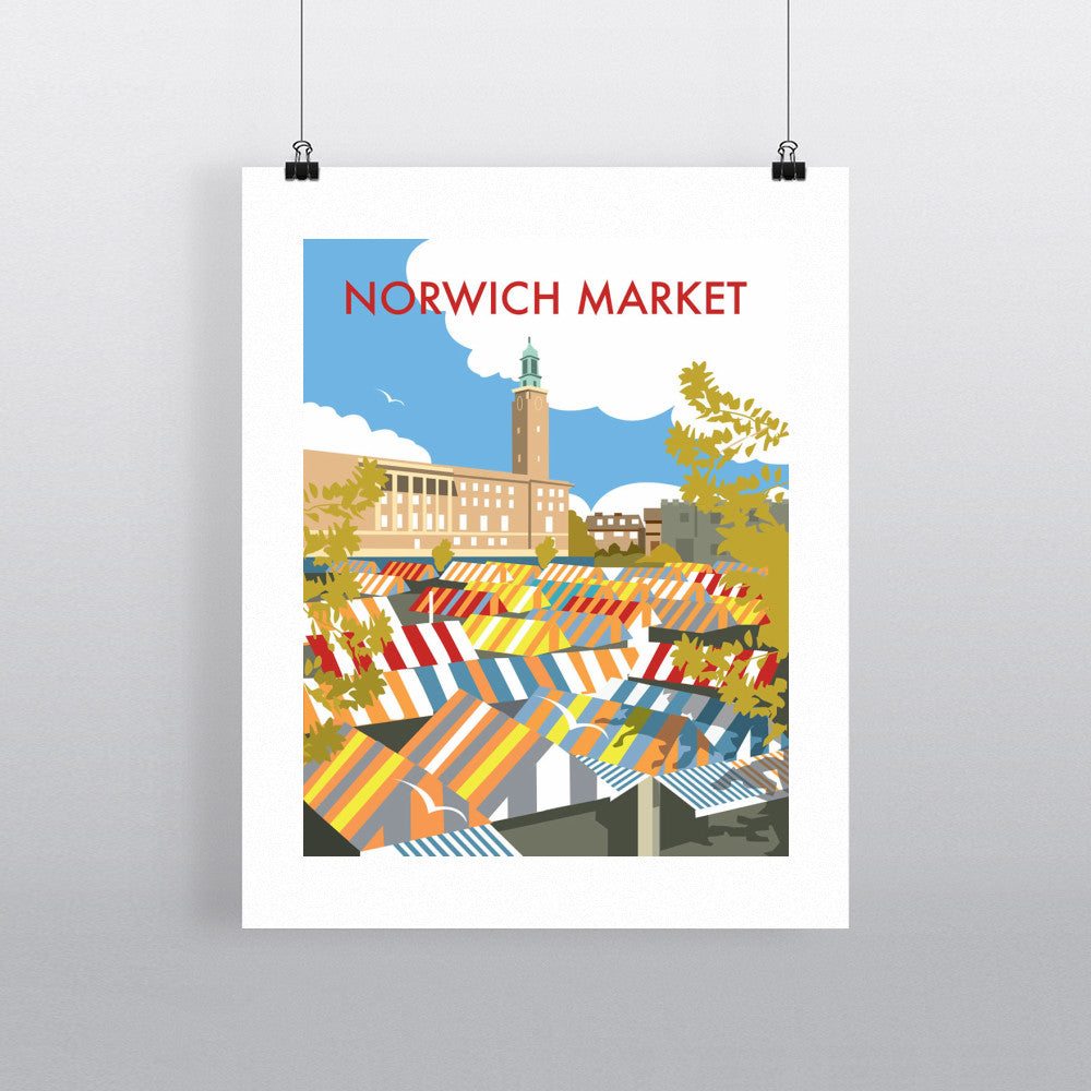 "THOMPSON086: Norwich Market, Norfolk. 24"" x 32"" Matte Mounted Print"