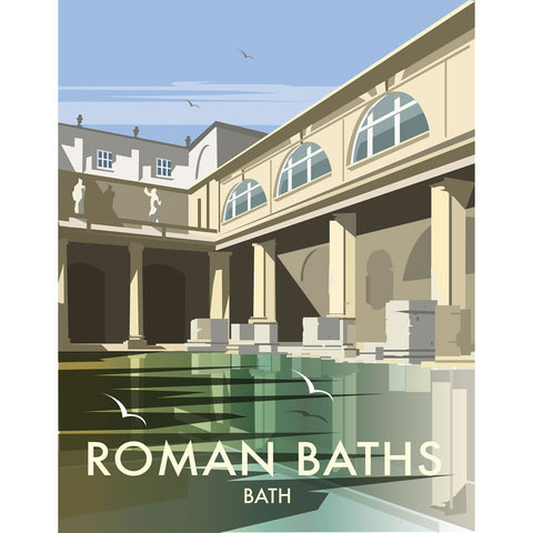"THOMPSON140: Roman Baths, Bath. 24"" x 32"" Matte Mounted Print"