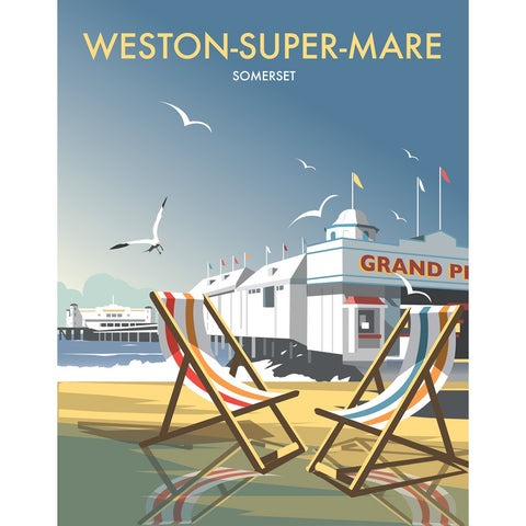 "THOMPSON166: Weston Super Mare 24"" x 32"" Matte Mounted Print"