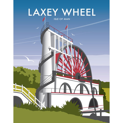 "THOMPSON176: Laxey Wheel, Isle of Man 24"" x 32"" Matte Mounted Print"